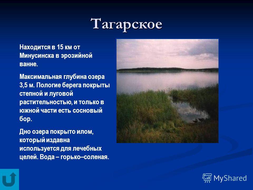 Тагарское Находится в 15 км от Минусинска в эрозийной ванне. Максимальная глубина озера 3,5 м. Пологие берега покрыты степной и луговой растительностью, и только в южной части есть сосновый бор. Дно озера покрыто илом, который издавна используется дл
