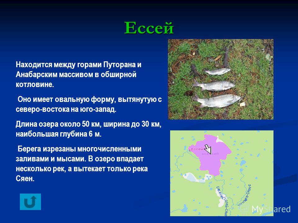 Ессей Находится между горами Путорана и Анабарским массивом в обширной котловине. Оно имеет овальную форму, вытянутую с северо-востока на юго-запад. Длина озера около 50 км, ширина до 30 км, наибольшая глубина 6 м. Берега изрезаны многочисленными зал