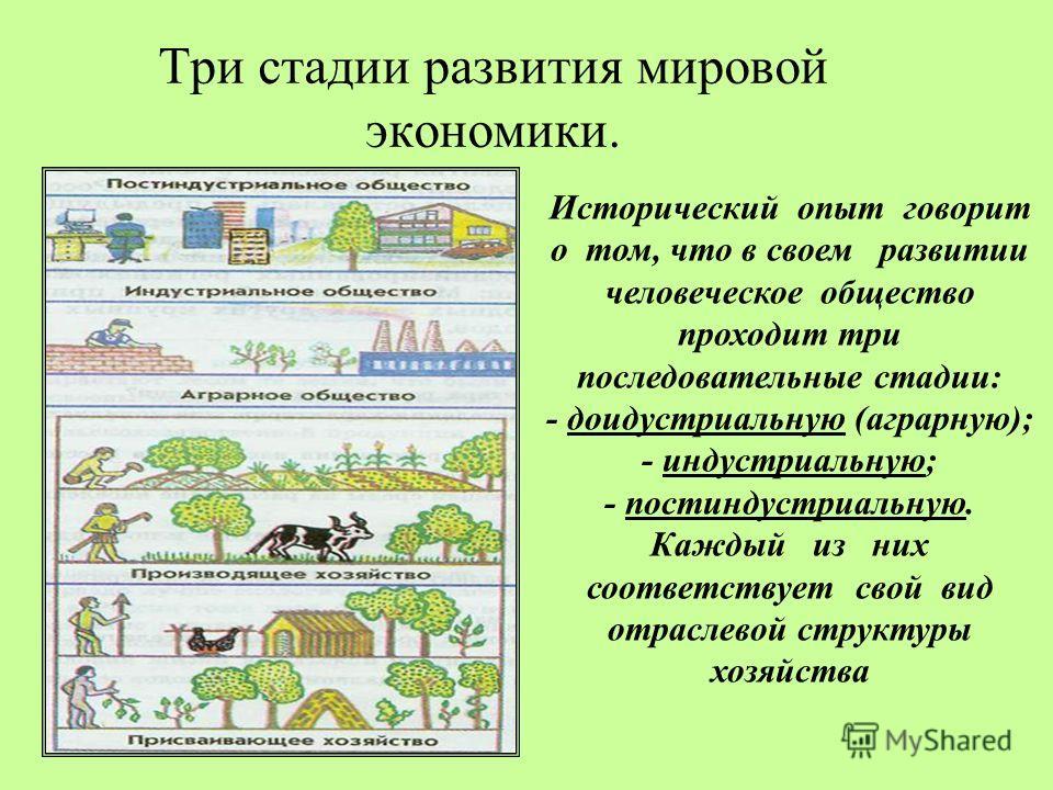 Три стадии развития мировой экономики. Исторический опыт говорит о том, что в своем развитии человеческое общество проходит три последовательные стадии: - доидустриальную (аграрную); - индустриальную; - постиндустриальную. Каждый из них соответствует