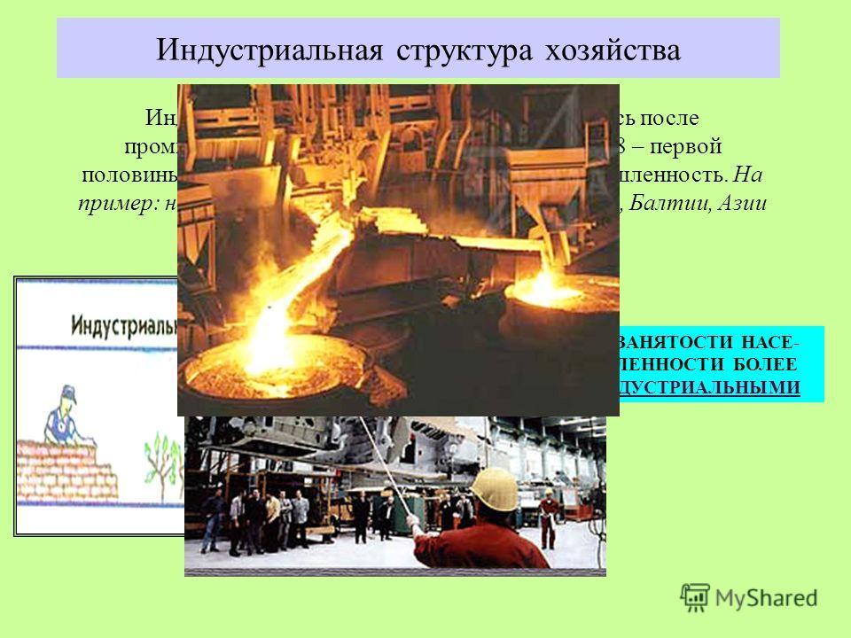 Индустриальная структура хозяйства Индустриальная структура хозяйства сложилась после промышленных переворотов второй половины 18 – первой половины 19 веков. Основной источник ВВП промышленность. На пример: некоторые страны СНГ, Восточной Европы, Бал
