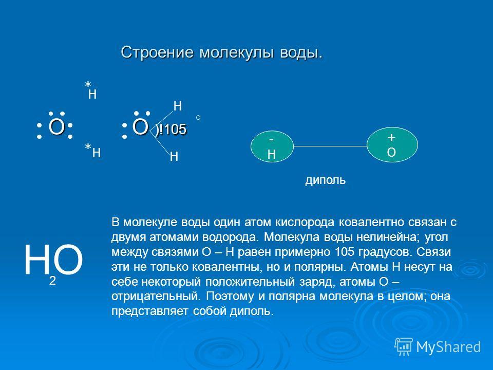 Строение молекулы воды. О О )!105 О О )!105 Н Н -Н-Н +О+О * * Н Н диполь НО 2 В молекуле воды один атом кислорода ковалентно связан с двумя атомами водорода. Молекула воды нелинейна; угол между связями О – Н равен примерно 105 градусов. Связи эти не