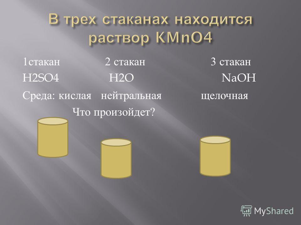 1 стакан 2 стакан 3 стакан H2SO4 H2O NaOH Среда : кислая нейтральная щелочная Что произойдет ?