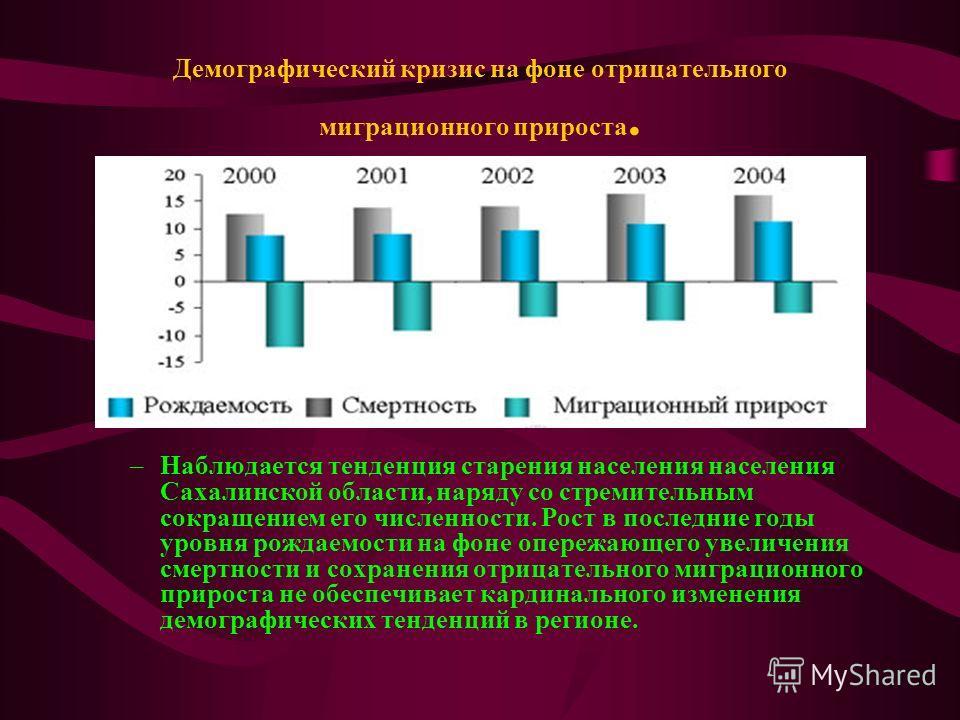Демографическая структура В настоящее время структура населения области ближе к регрессивному типу, когда доля пожилых и стариков (от 50 лет и старше) преобладает над долей молодых (от 0 до 14 лет). На 1 января 2007 г. Населения Сахалинской области с
