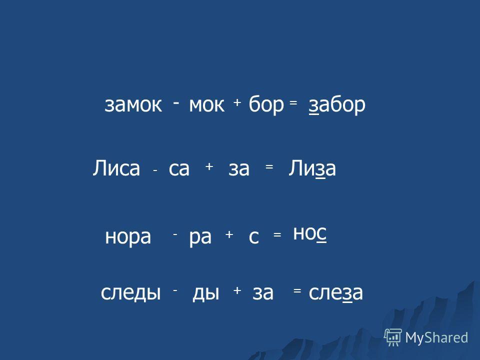 замок - мок + бор = забор Лиса - са + за = Лиза нора - ра + с = нос следы - ды + за = слеза