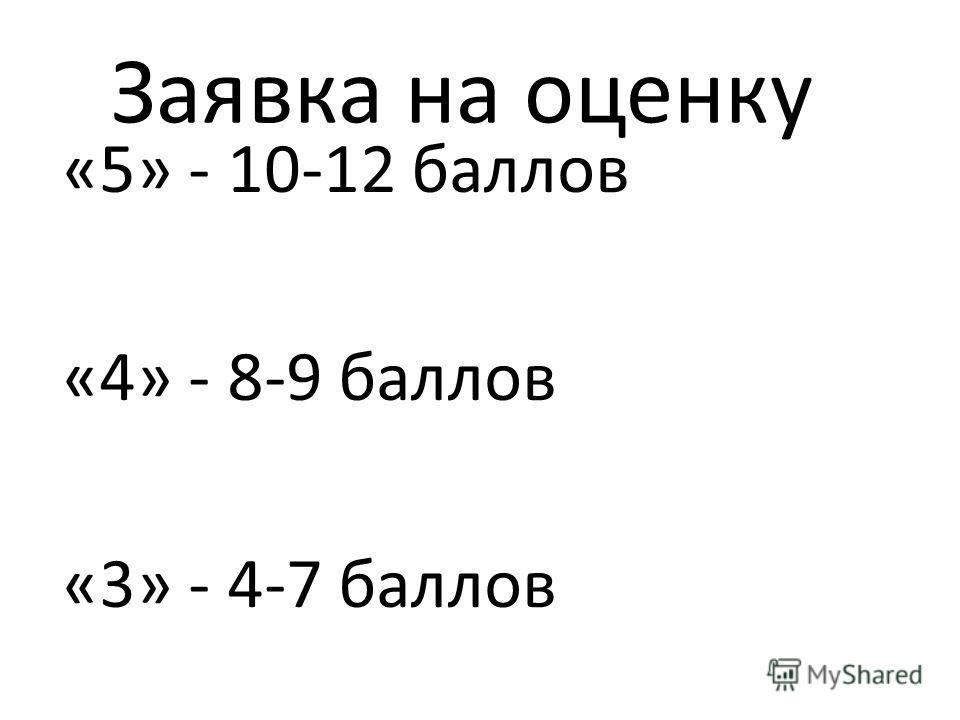 Заявка на оценку «5» - 10-12 баллов «4» - 8-9 баллов «3» - 4-7 баллов