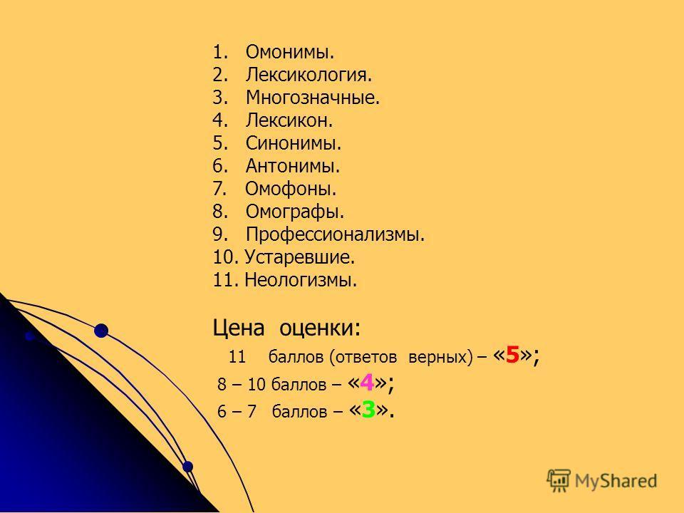1. Омонимы. 2. Лексикология. 3. Многозначные. 4. Лексикон. 5. Синонимы. 6. Антонимы. 7. Омофоны. 8. Омографы. 9. Профессионализмы. 10. Устаревшие. 11. Неологизмы. Цена оценки: 11 баллов (ответов верных) – «5»; 8 – 10 баллов – «4»; 6 – 7 баллов – «3».