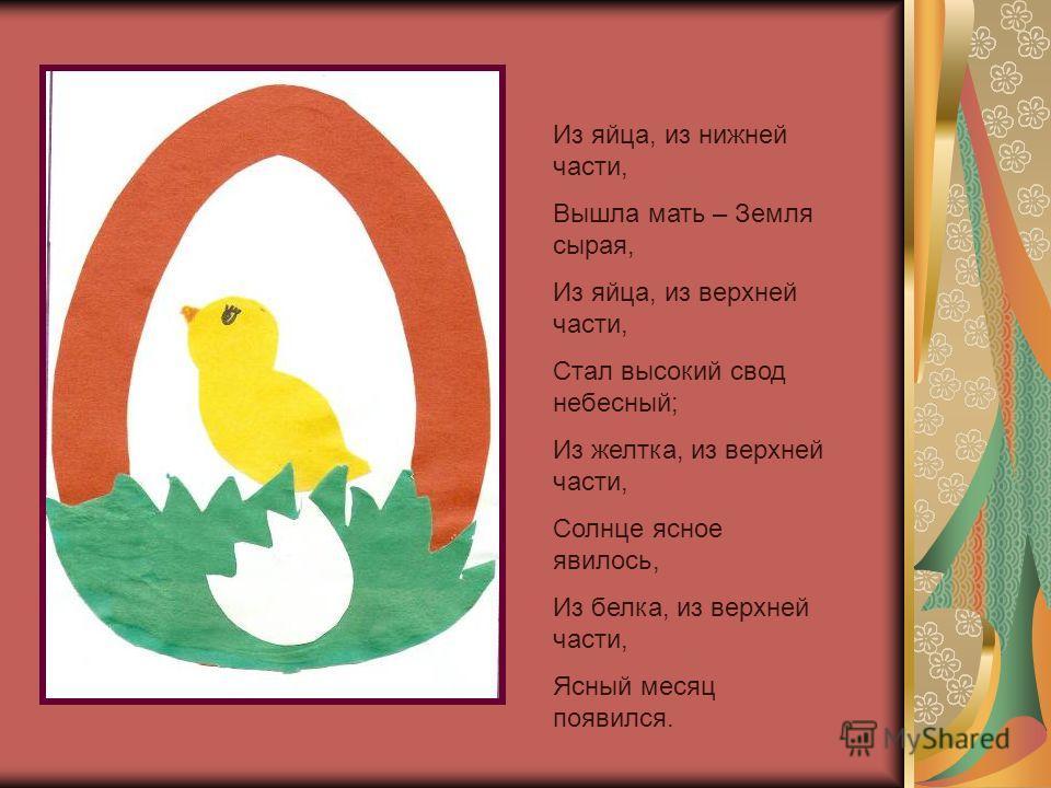 Из яйца, из нижней части, Вышла мать – Земля сырая, Из яйца, из верхней части, Стал высокий свод небесный; Из желтка, из верхней части, Солнце ясное явилось, Из белка, из верхней части, Ясный месяц появился.