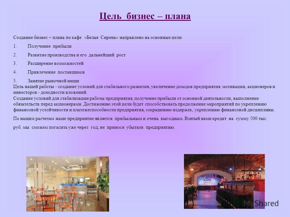 Презентация кафе бизнес плана