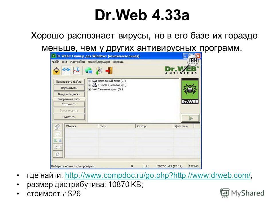 Dr.Web 4.33а Хорошо распознает вирусы, но в его базе их гораздо меньше, чем у других антивирусных программ. где найти: http://www.compdoc.ru/go.php?http://www.drweb.com/;http://www.compdoc.ru/go.php?http://www.drweb.com/ размер дистрибутива: 10870 KB