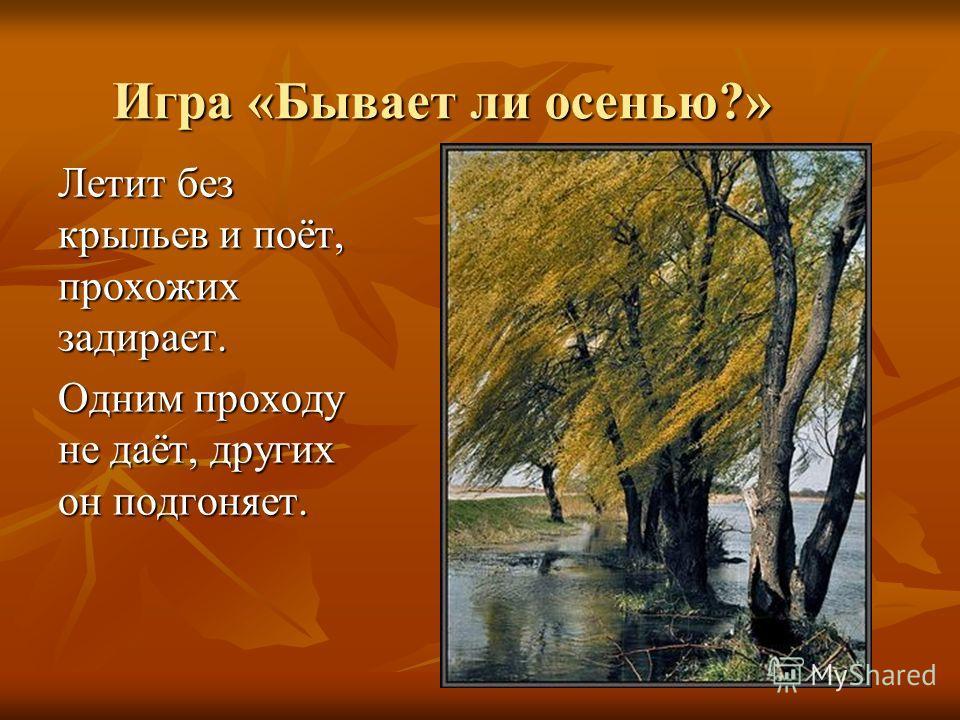 Игра «Бывает ли осенью?» Летит без крыльев и поёт, прохожих задирает. Одним проходу не даёт, других он подгоняет.