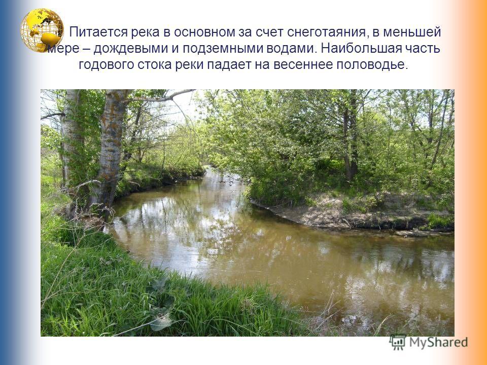 Питается река в основном за счет снеготаяния, в меньшей мере – дождевыми и подземными водами. Наибольшая часть годового стока реки падает на весеннее половодье.