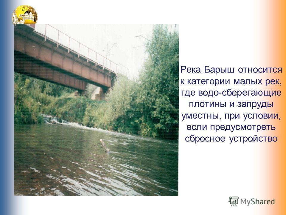 Река Барыш относится к категории малых рек, где водо-сберегающие плотины и запруды уместны, при условии, если предусмотреть сбросное устройство