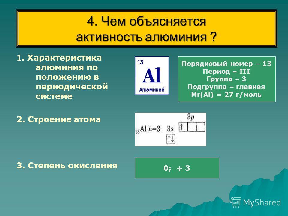 4. Чем объясняется активность алюминия ? 1 1. Характеристика алюминия по положению в периодической системе 2. Строение атома 3. Степень окисления Порядковый номер – 13 Период – III Группа – 3 Подгруппа – главная Мr(Аl) = 27 г/моль 0; + 3
