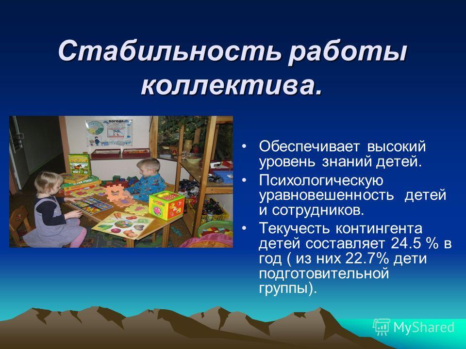 Стабильность работы коллектива. Обеспечивает высокий уровень знаний детей. Психологическую уравновешенность детей и сотрудников. Текучесть контингента детей составляет 24.5 % в год ( из них 22.7% дети подготовительной группы).