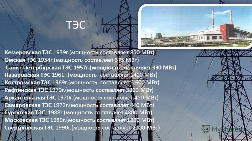 Кемеровская ТЭС 1939г.(мощность составляет 850 МВт) Омская ТЭС 1954г.(мощность составляет 375 МВт) Санкт-Петербурская ТЭС 1957г.(мощность составляет 330 МВт) Назаровская ТЭС 1961г.(мощность составляет 1400 МВт) Костромская ТЭС 1969г.(мощность составл