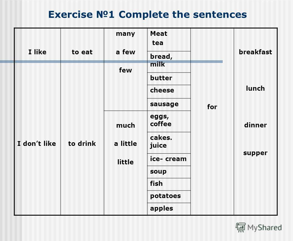 Exercise 1 Complete the sentences I like I dont like to eat to drink many a few few Meat tea for breakfast lunch dinner supper bread, milk butter cheese sausage much a little little eggs, coffee сakes. juice ice- cream soup fish potatoes apples