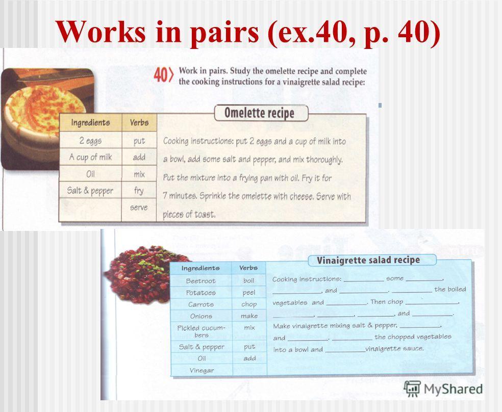 Works in pairs (ex.40, p. 40)