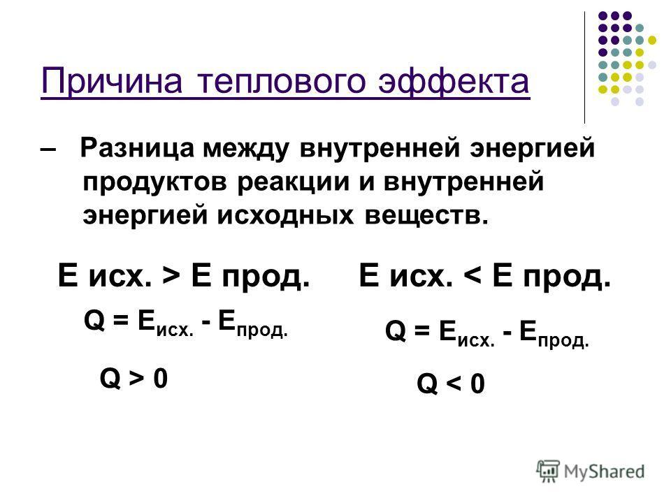 Разница между внутренней энергией исходных веществ и продуктов реакции выделяется в окружающую среду или поглощается из нее. Q = E исх. - E прод.
