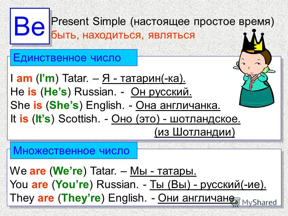 I am (Im) Tatar. – Я - татарин(-ка). He is (Hes) Russian. - Он русский. She is (Shes) English. - Она англичанка. It is (Its) Scottish. - Оно (это) - шотландское. (из Шотландии) I am (Im) Tatar. – Я - татарин(-ка). He is (Hes) Russian. - Он русский. S