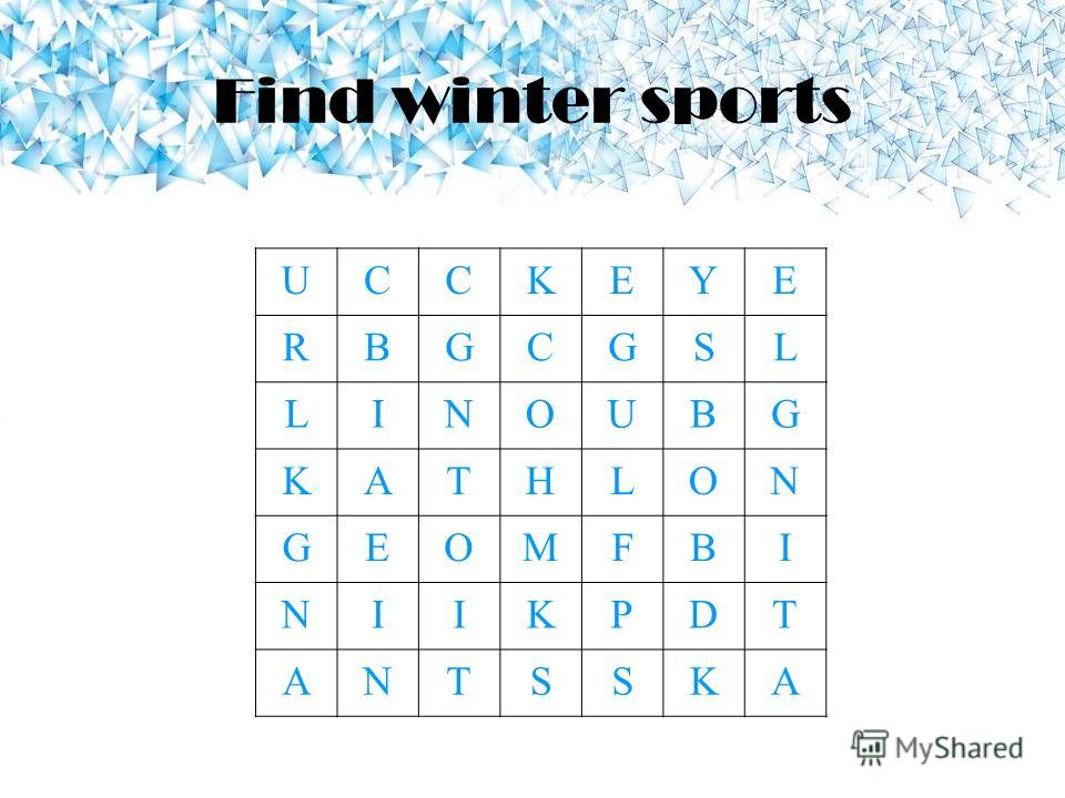 Find winter sports UCCKEYE RBGCGSL LINOUBG KATHLON GEOMFBI NIIKPDT ANTSSKA