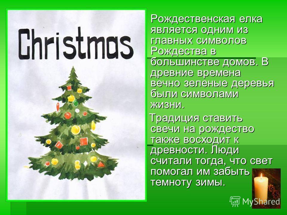 Рождественская елка является одним из главных символов Рождества в большинстве домов. В древние времена вечно зеленые деревья были символами жизни. Традиция ставить свечи на рождество также восходит к древности. Люди считали тогда, что свет помогал и