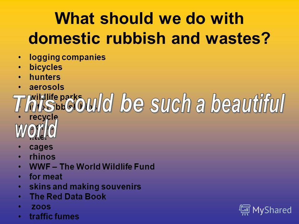 What should we do with domestic rubbish and wastes? logging companies bicycles hunters aerosols wildlife parks into rubbish bins recycle extinct litter cages rhinos WWF – The World Wildlife Fund for meat skins and making souvenirs The Red Data Book z