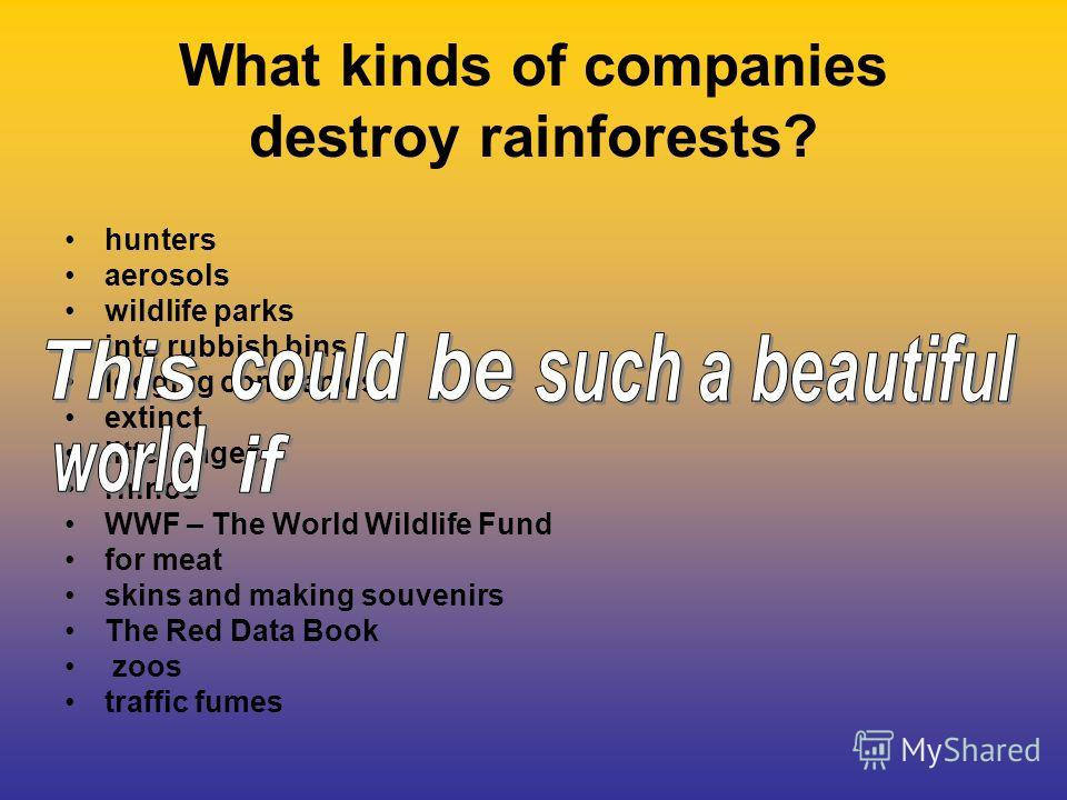 What kinds of companies destroy rainforests? hunters aerosols wildlife parks into rubbish bins logging companies extinct litter cages rhinos WWF – The World Wildlife Fund for meat skins and making souvenirs The Red Data Book zoos traffic fumes