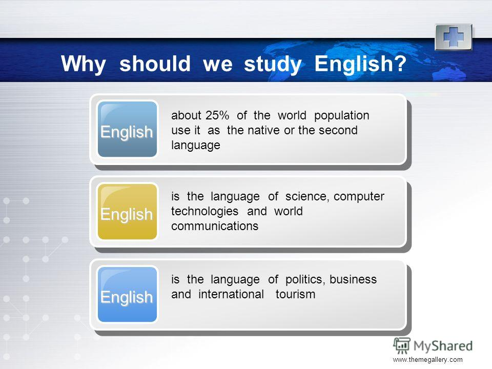 www.themegallery.com Why should we study English? English about 25% of the world population use it as the native or the second language English is the language of science, computer technologies and world communications English is the language of poli