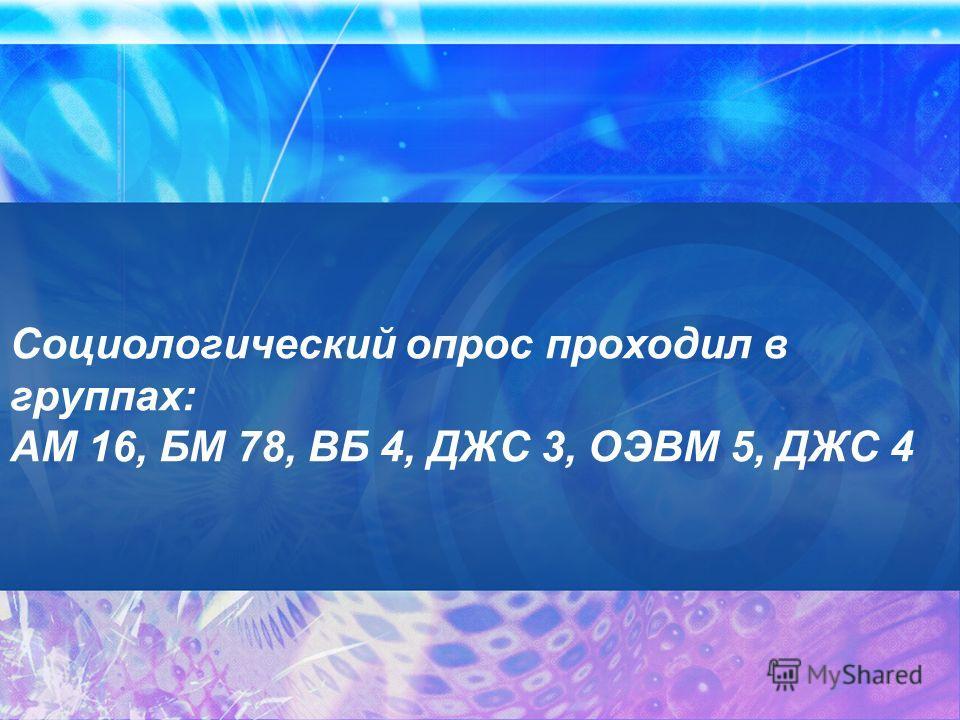 Социологический опрос проходил в группах: АМ 16, БМ 78, ВБ 4, ДЖС 3, ОЭВМ 5, ДЖС 4