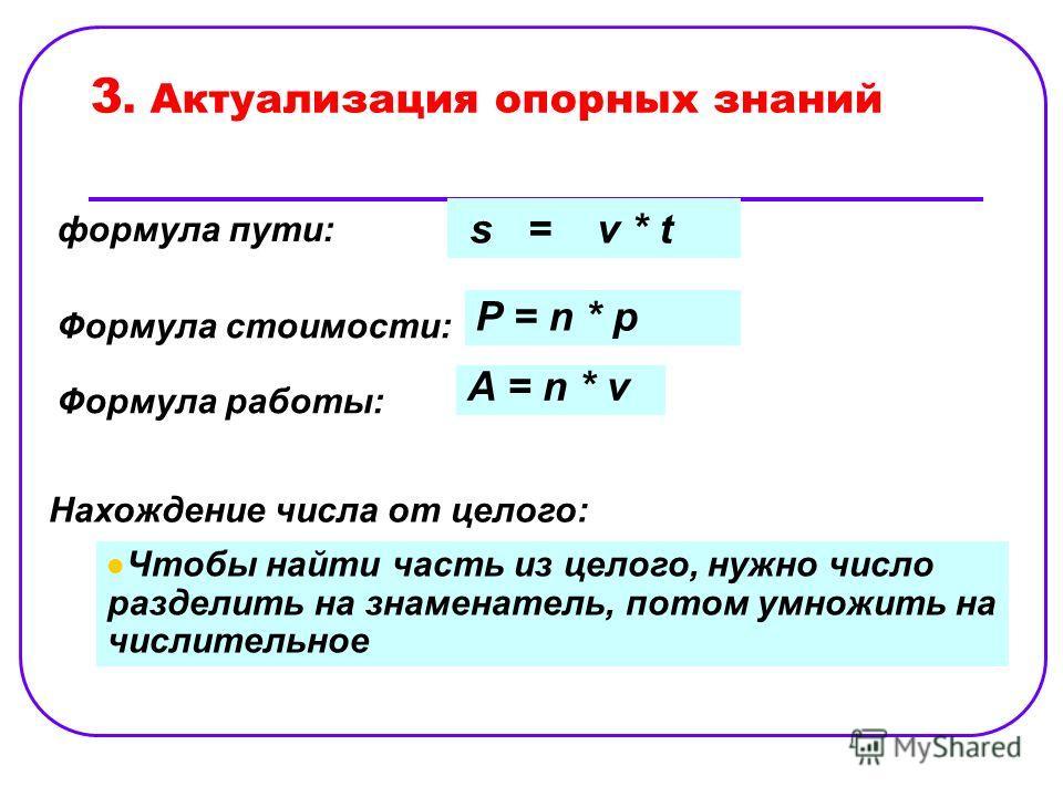 3. Актуализация опорных знаний s = v * t формула пути: Формула стоимости: P = n * p Формула работы: A = n * v Нахождение числа от целого: Чтобы найти часть из целого, нужно число разделить на знаменатель, потом умножить на числительное