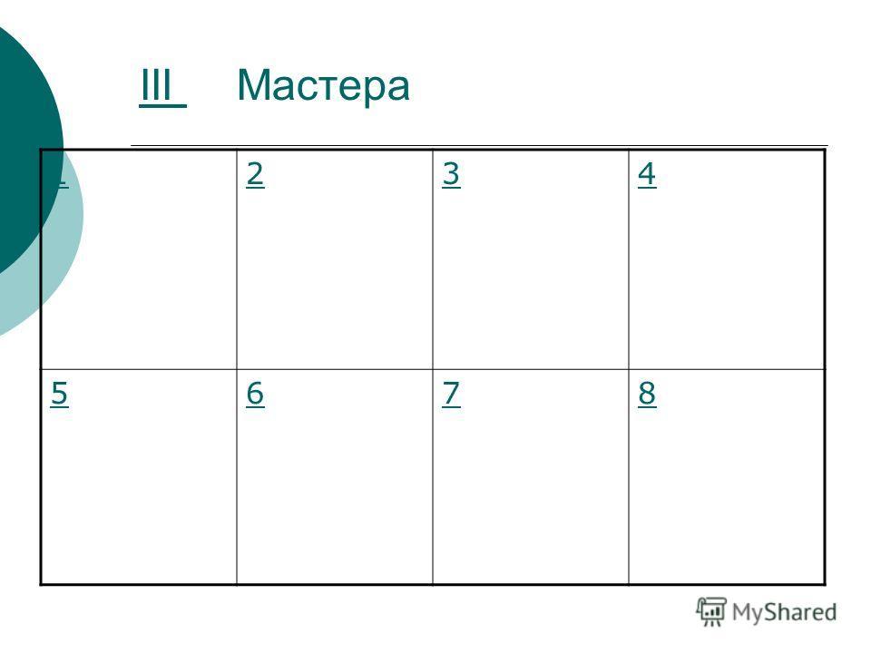 III III Мастера 1234 5678