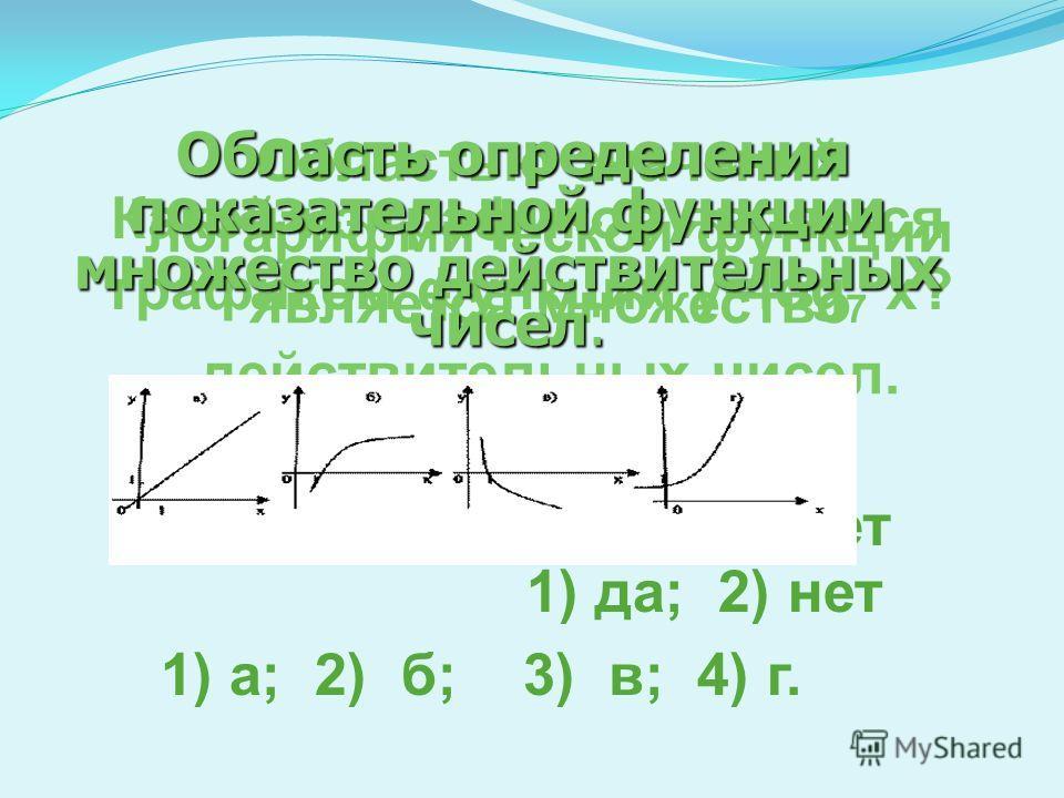 Какие из данных функций являются логарифмическими 1)3 и 4; 2) 2, 3 и 5; 3) 3 и 5; 4) 4 Какие из данных функций являются показательными? Назовите возрастающие функции 1)1, 3 и 7 2)только 1 и 7 3)2, 4, 5 и 6 4)2, 4 и 6 Назовите убывающие функции
