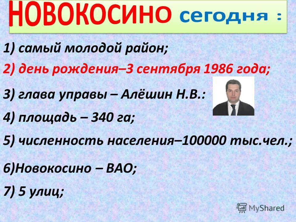 1) самый молодой район; 2) день рождения–3 сентября 1986 года; 3) глава управы – Алёшин Н.В.: 5) численность населения–100000 тыс.чел.; 6)Новокосино – ВАО; 7) 5 улиц; 4) площадь – 340 га;