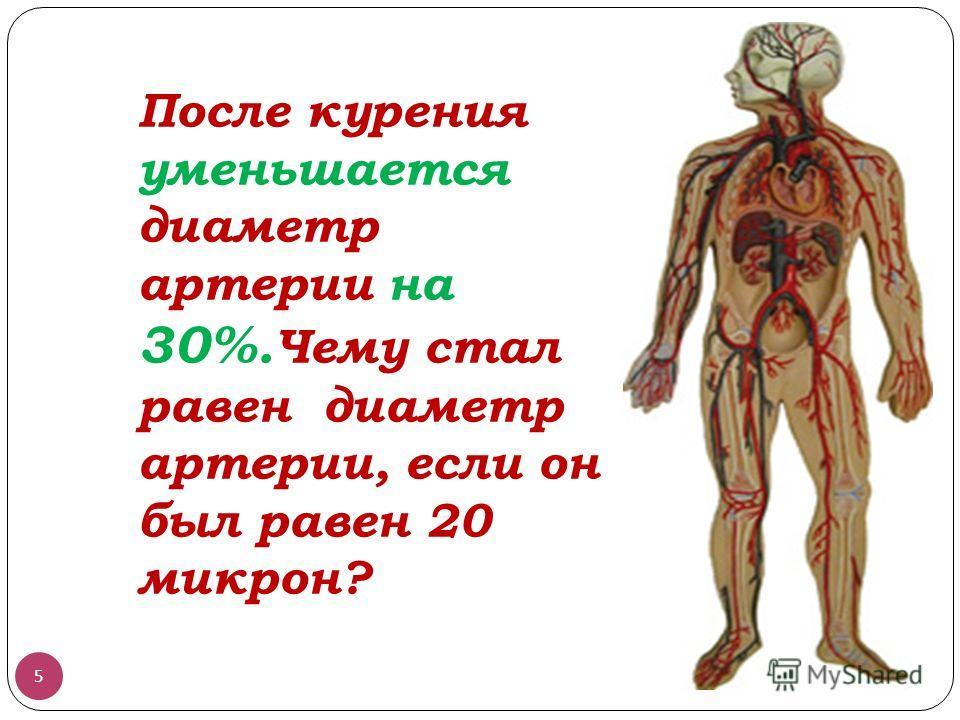 После курения уменьшается диаметр артерии на 30%. Чему стал равен диаметр артерии, если он был равен 20 микрон? 5