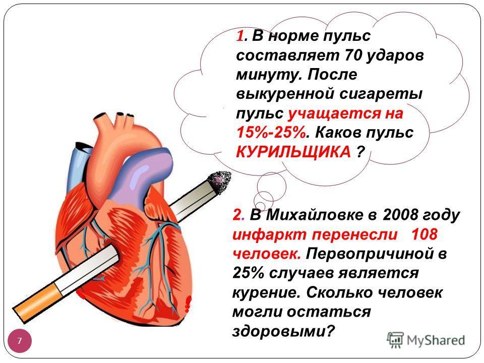 2. В Михайловке в 2008 году инфаркт перенесли 108 человек. Первопричиной в 25% случаев является курение. Сколько человек могли остаться здоровыми? 7 1. В норме пульс составляет 70 ударов минуту. После выкуренной сигареты пульс учащается на 15%-25%. К