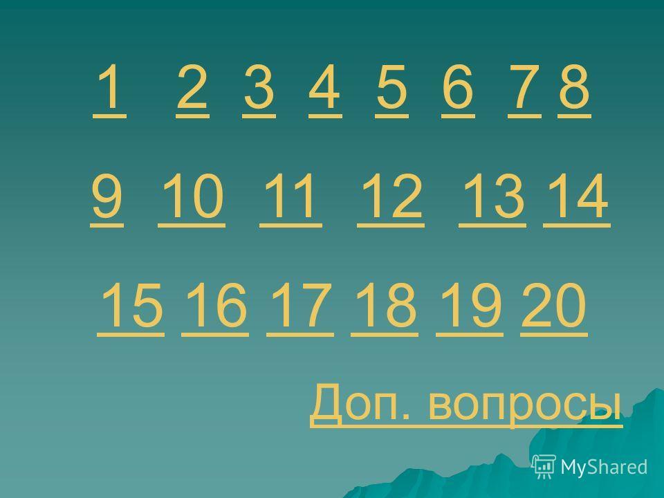 11 2 3 4 5 6 782345678 9 10 11 12 13 1491011121314 1515 16 17 18 19 201617181920 Доп. вопросы