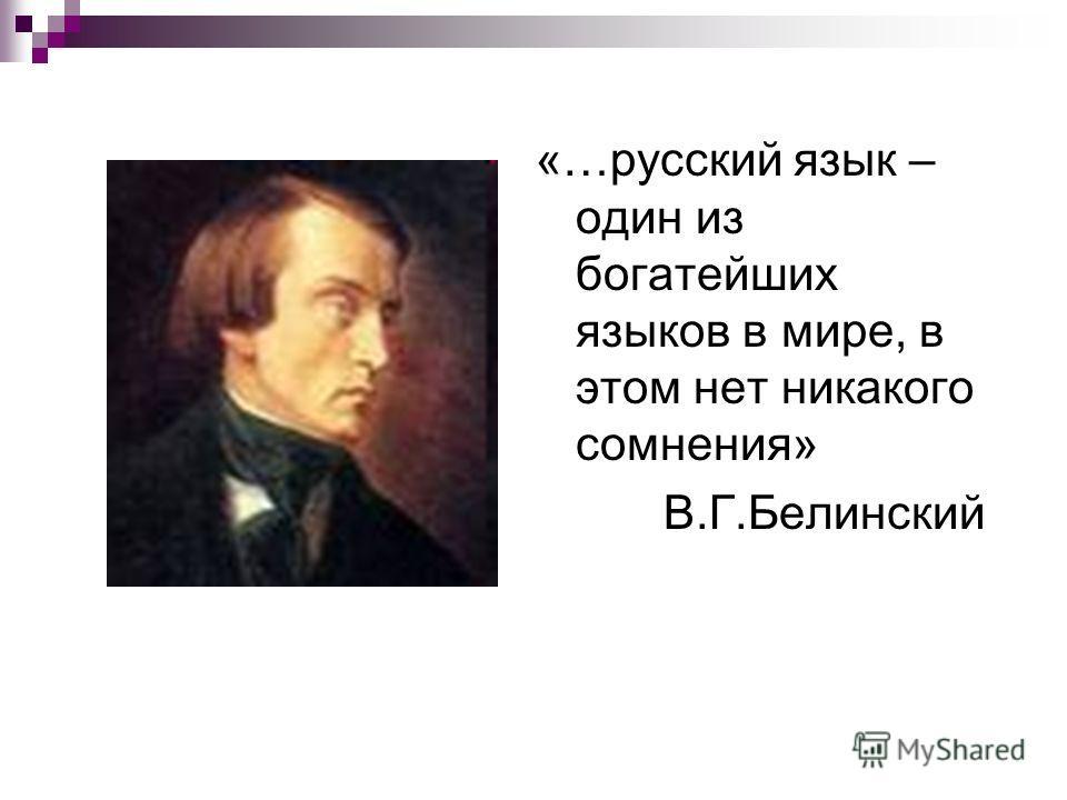 «…русский язык – один из богатейших языков в мире, в этом нет никакого сомнения» В.Г.Белинский