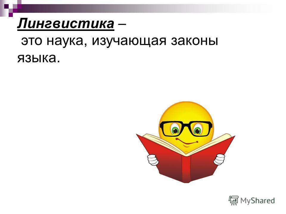 Лингвистика – это наука, изучающая законы языка.