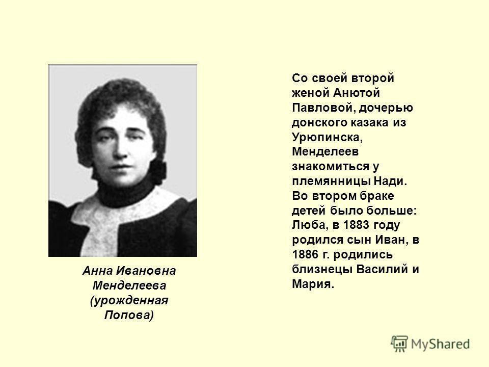 Анна Ивановна Менделеева (урожденная Попова) Со своей второй женой Анютой Павловой, дочерью донского казака из Урюпинска, Менделеев знакомиться у племянницы Нади. Во втором браке детей было больше: Люба, в 1883 году родился сын Иван, в 1886 г. родили