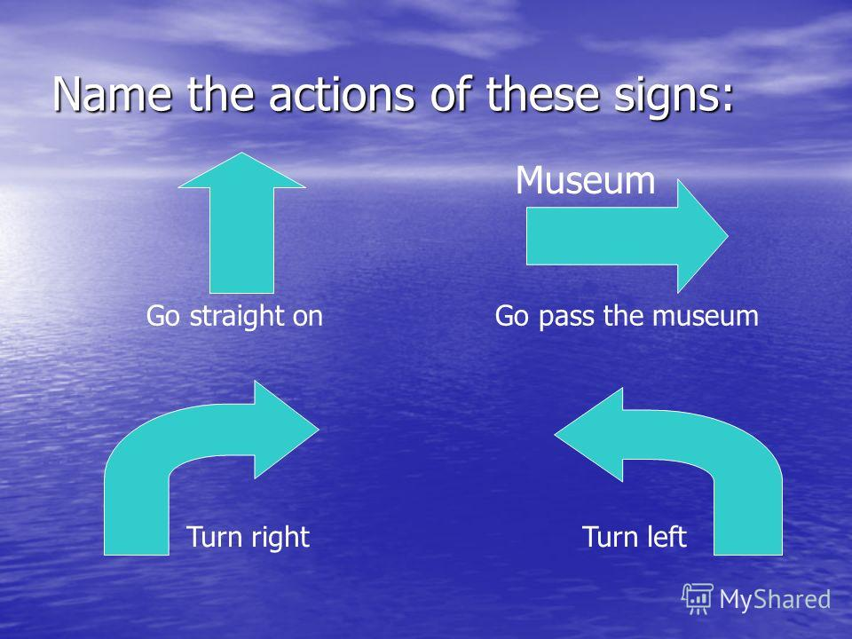 Name the actions of these signs: Museum Turn leftTurn right Go straight onGo pass the museum