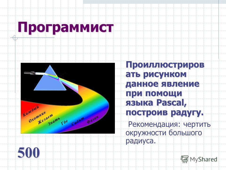 Программист Проиллюстриров ать рисунком данное явление при помощи языка Pascal, построив радугу. Рекомендация: чертить окружности большого радиуса. 500