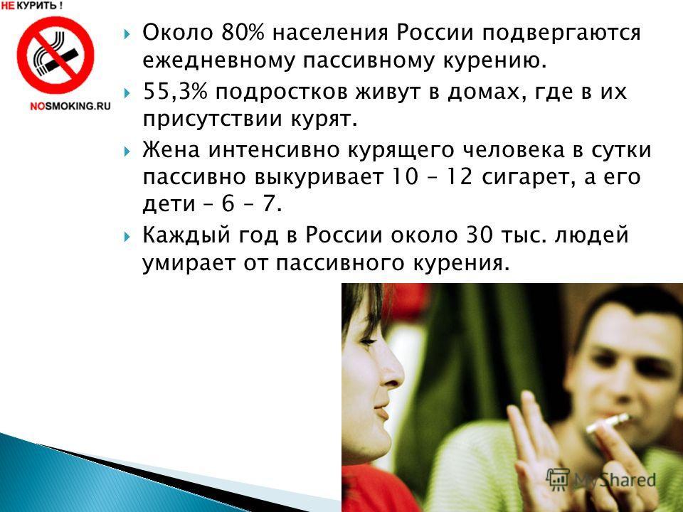 Около 80% населения России подвергаются ежедневному пассивному курению. 55,3% подростков живут в домах, где в их присутствии курят. Жена интенсивно курящего человека в сутки пассивно выкуривает 10 – 12 сигарет, а его дети – 6 – 7. Каждый год в России