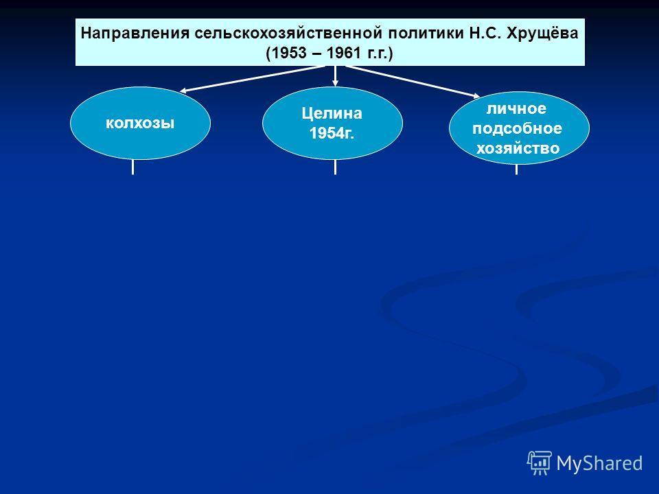 Направления сельскохозяйственной политики Н.С. Хрущёва (1953 – 1961 г.г.) личное подсобное хозяйство Целина 1954г. колхозы