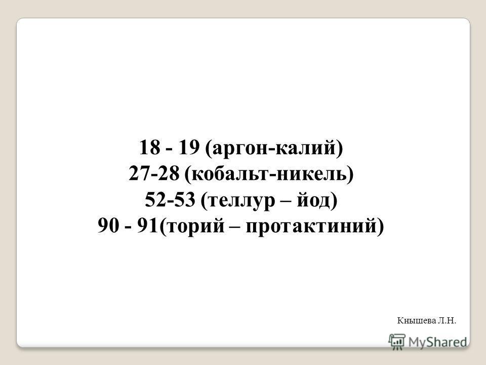 18 - 19 (аргон-калий) 27-28 (кобальт-никель) 52-53 (теллур – йод) 90 - 91(торий – протактиний) Кнышева Л.Н.