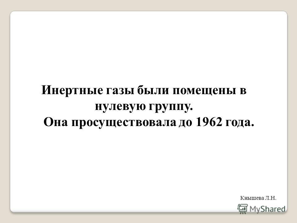 Инертные газы были помещены в нулевую группу. Она просуществовала до 1962 года. Кнышева Л.Н.