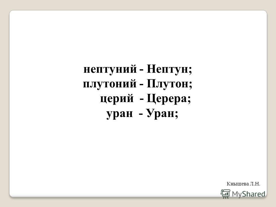 нептуний - Нептун; плутоний - Плутон; церий - Церера; уран - Уран; Кнышева Л.Н.