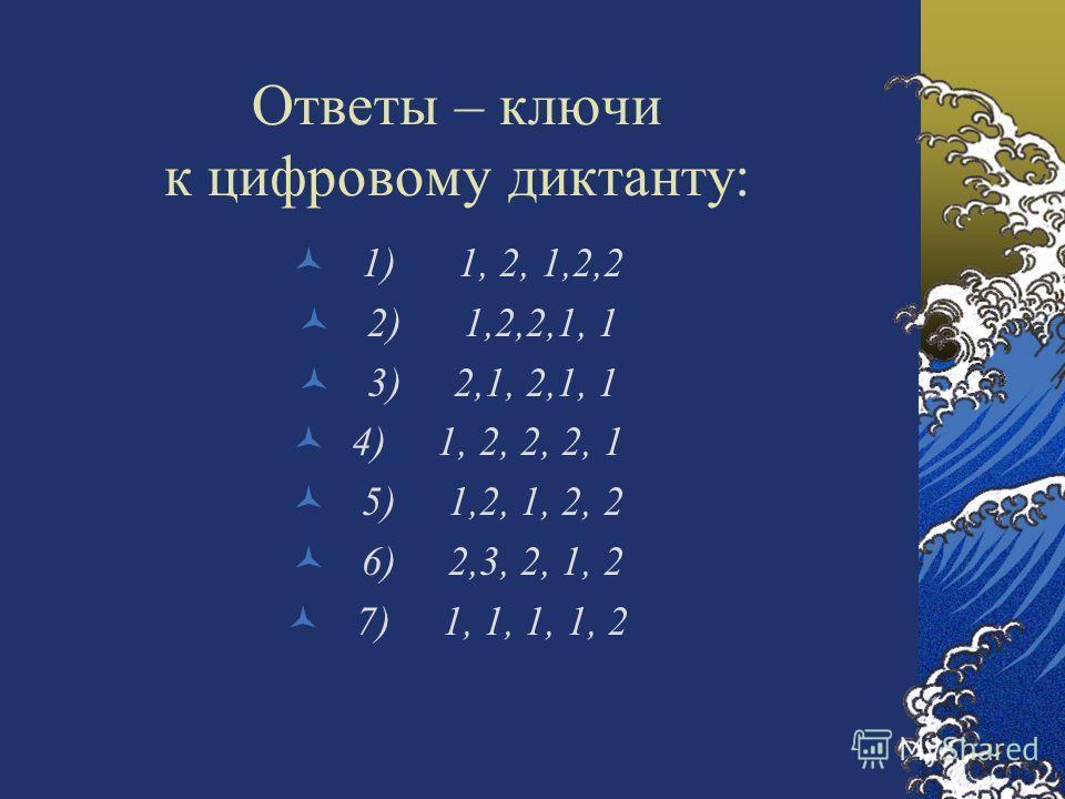 Ответы – ключи к цифровому диктанту: 1) 1, 2, 1,2,2 2) 1,2,2,1, 1 3) 2,1, 2,1, 1 4) 1, 2, 2, 2, 1 5) 1,2, 1, 2, 2 6) 2,3, 2, 1, 2 7) 1, 1, 1, 1, 2