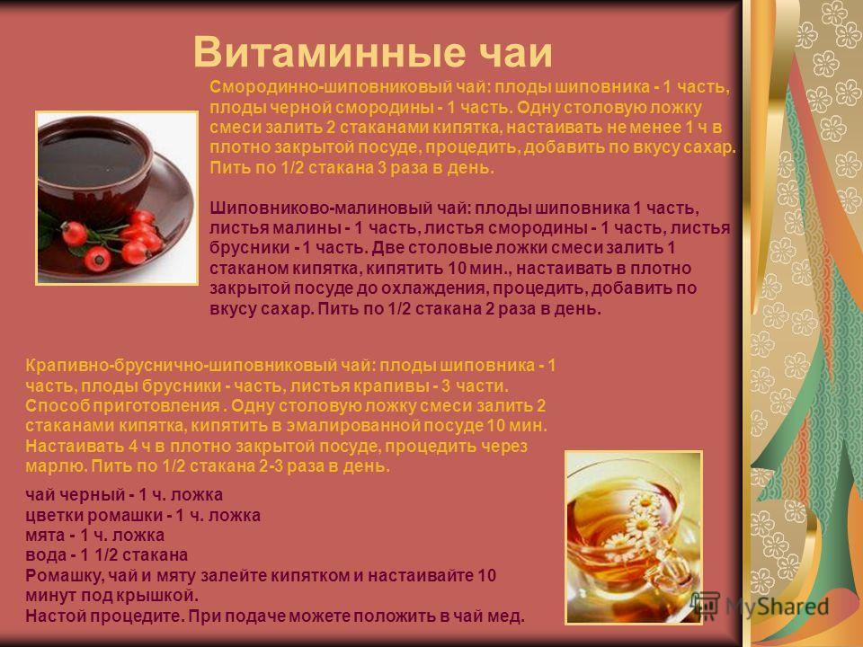 Витаминные чаи Смородинно-шиповниковый чай: плоды шиповника - 1 часть, плоды черной смородины - 1 часть. Одну столовую ложку смеси залить 2 стаканами кипятка, настаивать не менее 1 ч в плотно закрытой посуде, процедить, добавить по вкусу сахар. Пить