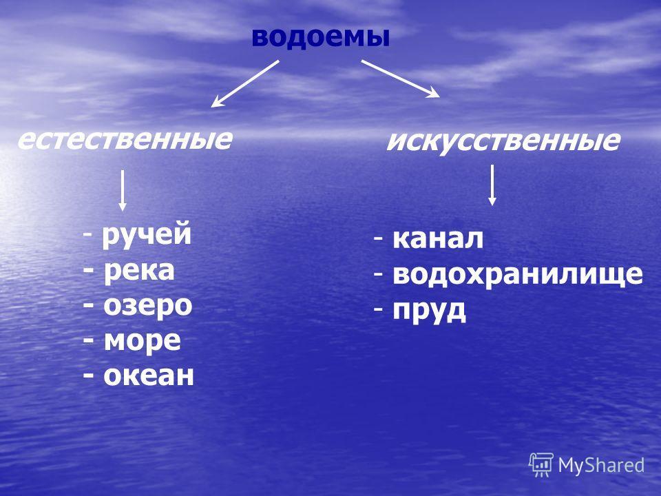 водоемы естественные искусственные - ручей - река - озеро - море - океан - канал - водохранилище - пруд