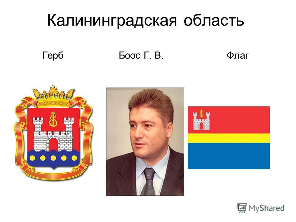 Калининградская область Герб Боос Г. В. Флаг